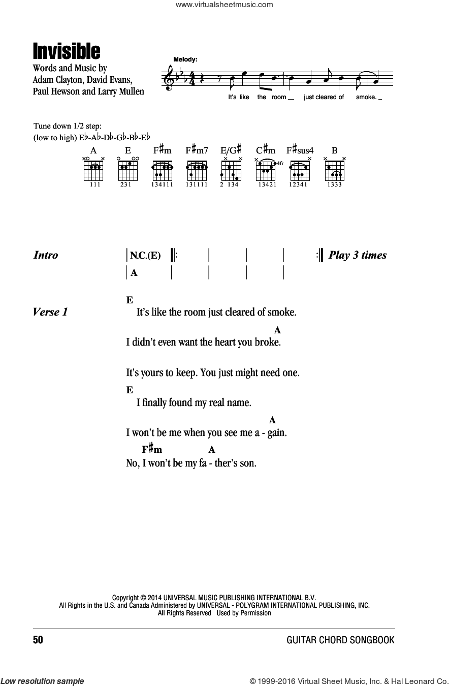 Invisible sheet music for guitar (chords) by U2, Adam Clayton, David Evans, Larry Mullen and Paul Hewson, intermediate skill level