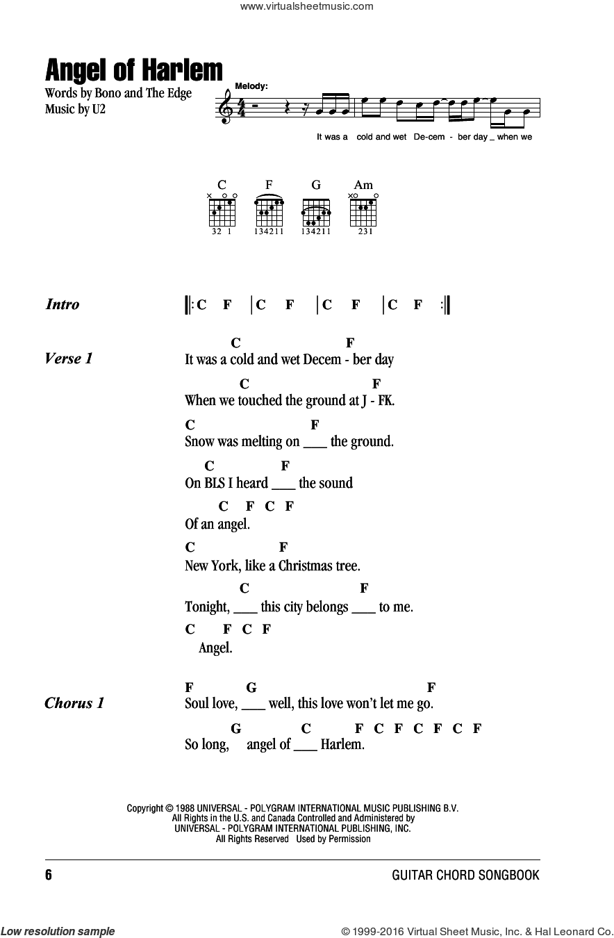 Angel Of Harlem sheet music for guitar (chords) by U2, Bono and The Edge, intermediate skill level