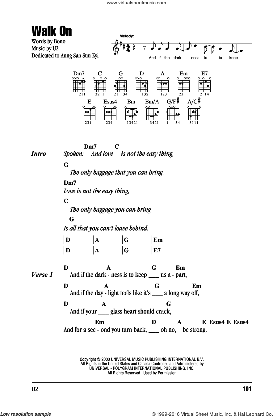 Walk On sheet music for guitar (chords) by U2 and Bono, intermediate skill level