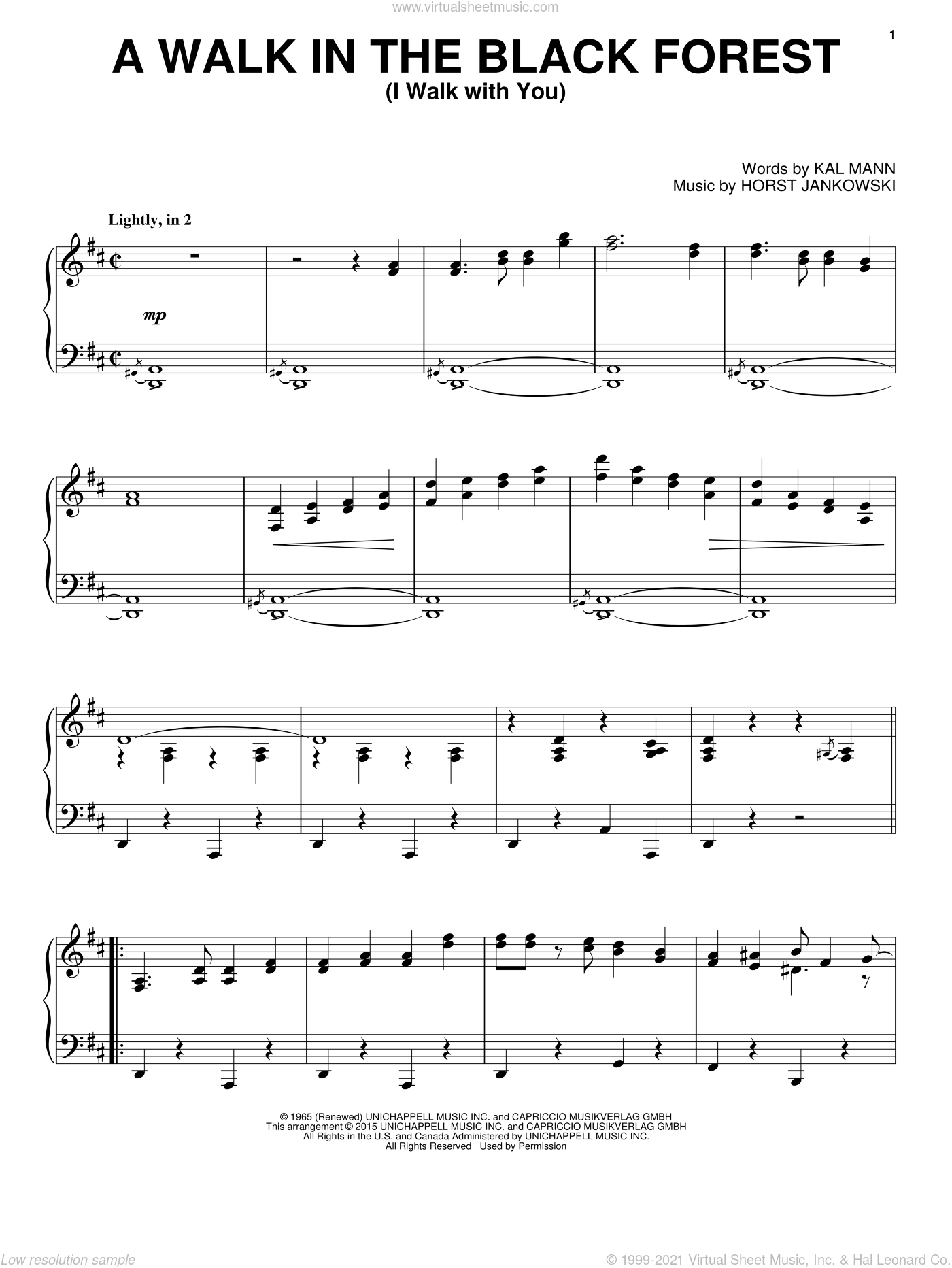 A Walk In The Black Forest (I Walk With You) sheet music for piano solo by Kal Mann and Horst Jankowski. Score Image Preview.