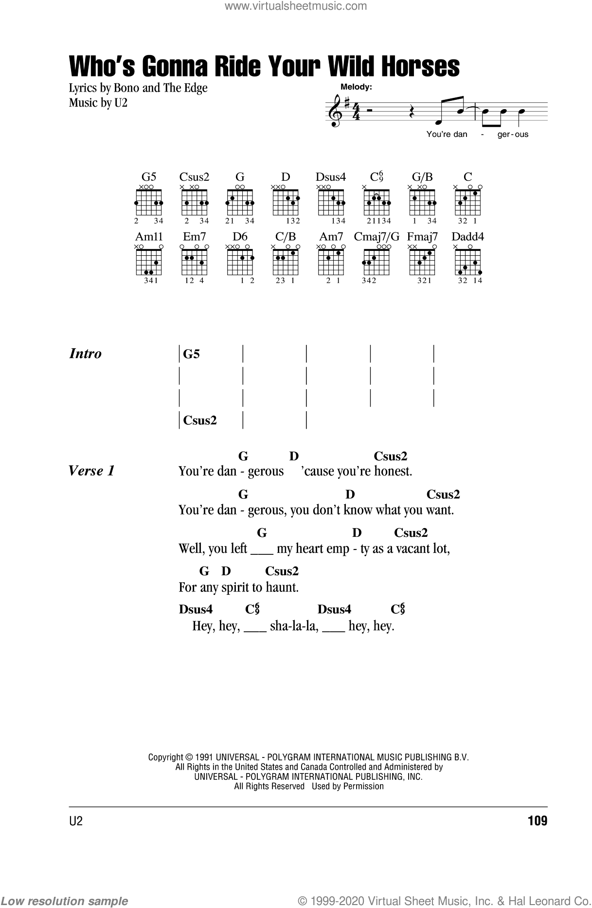 Who's Gonna Ride Your Wild Horses sheet music for guitar (chords) by The Edge, Bono and U2. Score Image Preview.