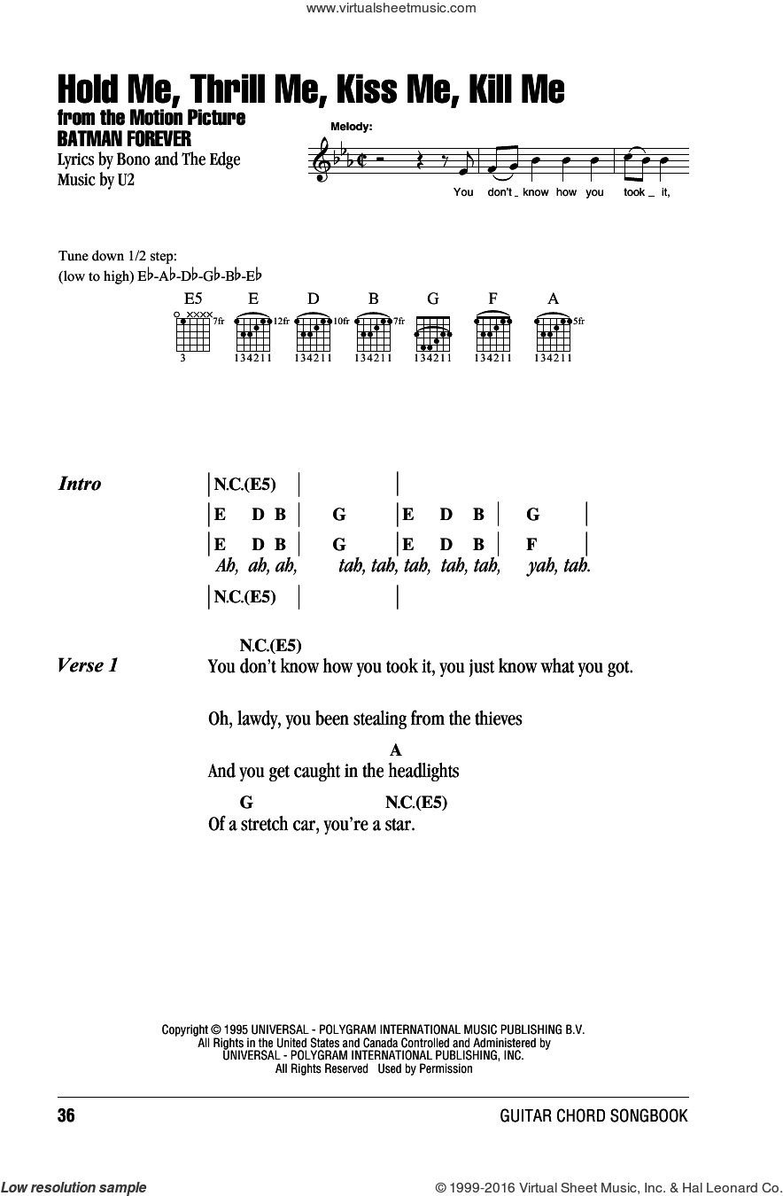 Hold Me, Thrill Me, Kiss Me, Kill Me sheet music for guitar (chords) by U2, Bono and The Edge, intermediate skill level