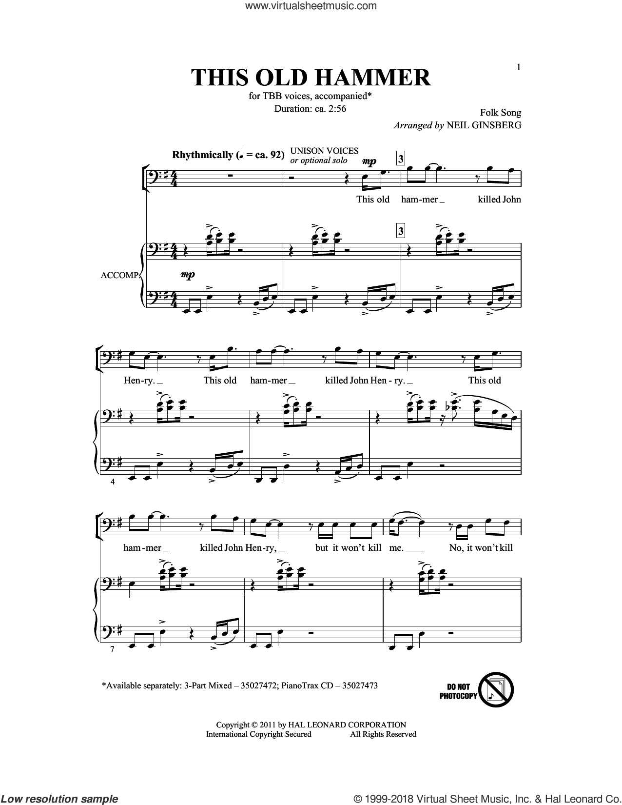 This Old Hammer sheet music for choir (TBB: tenor, bass) by Neil Ginsberg, intermediate