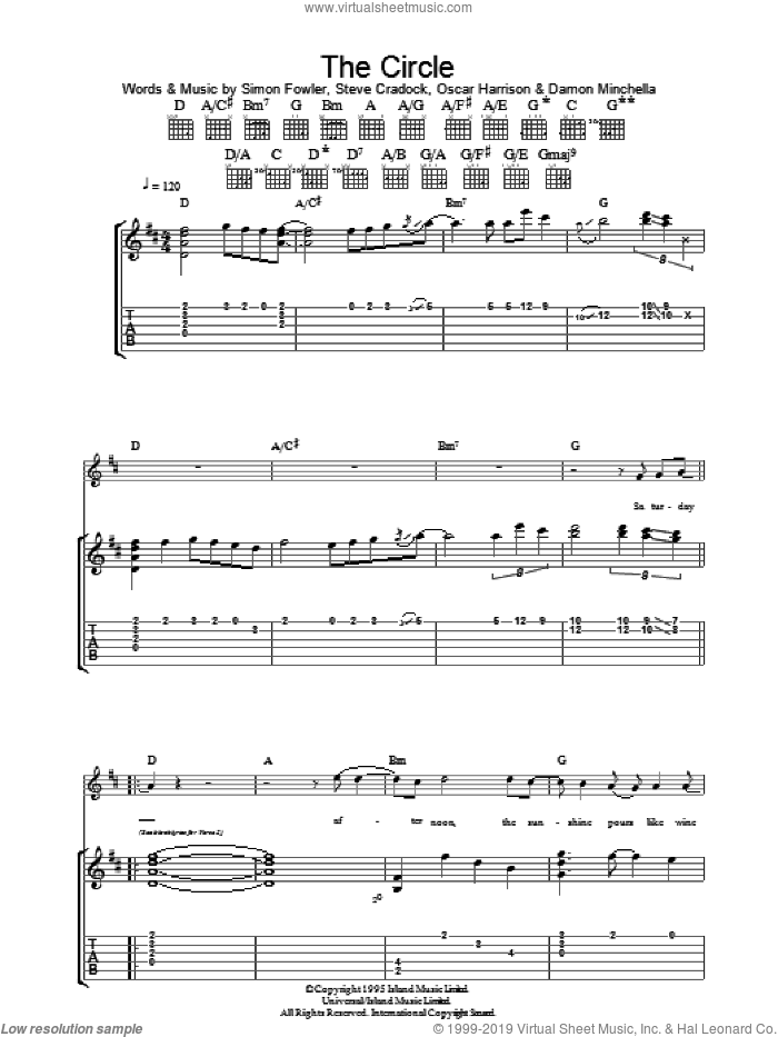 The Circle sheet music for guitar (tablature) by Steve Cradock, Ocean Colour Scene and Oscar Harrison. Score Image Preview.