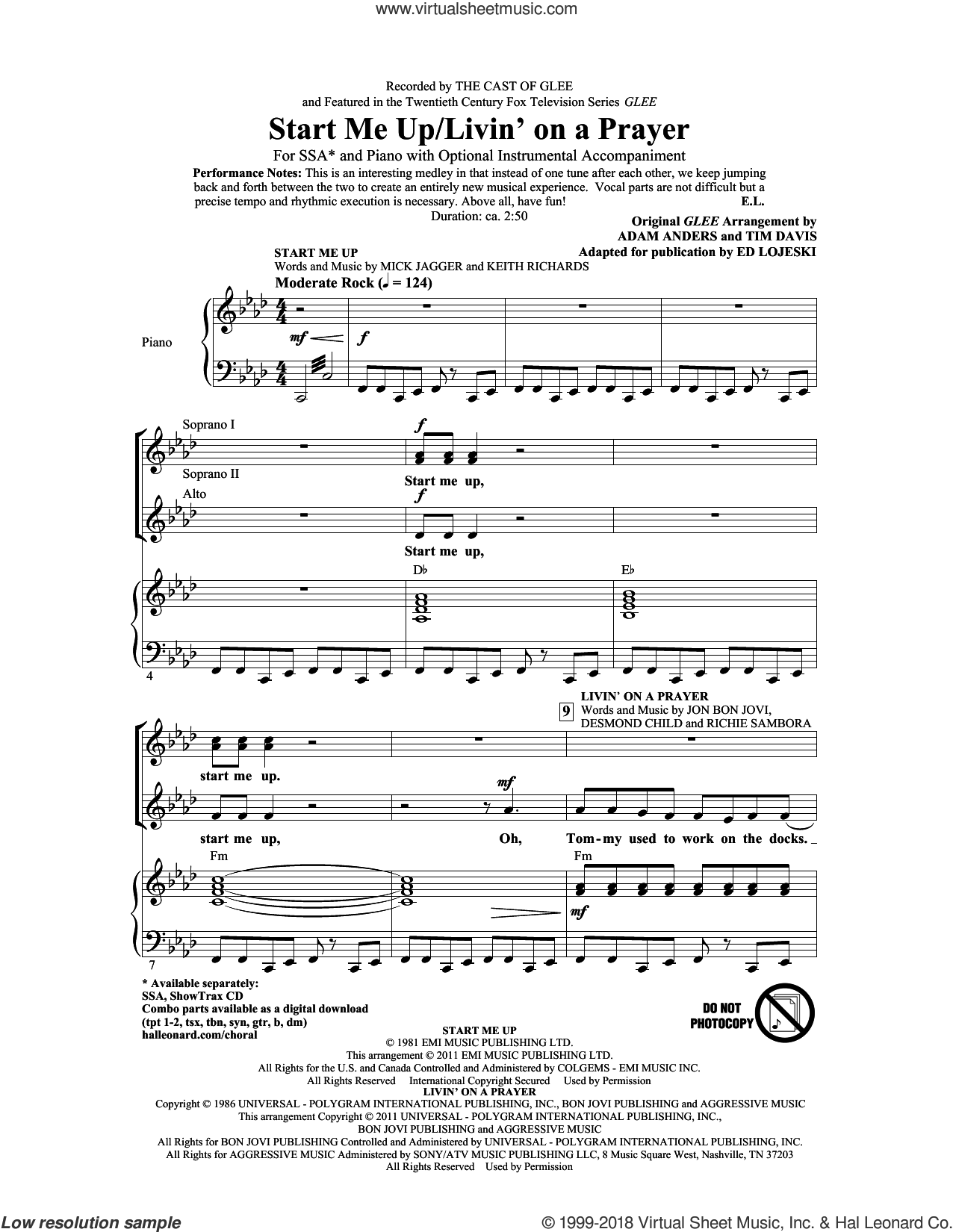 Start Me Up/Livin' On A Prayer sheet music for choir (soprano voice, alto voice, choir) by Mick Jagger, Bon Jovi, Ed Lojeski, Glee Cast, Keith Richards and The Rolling Stones. Score Image Preview.