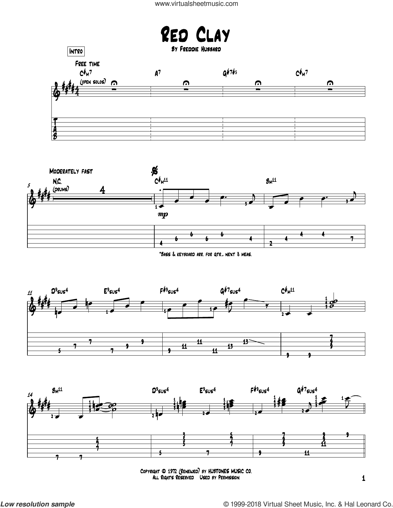 Red Clay sheet music for guitar solo by Freddie Hubbard, intermediate. Score Image Preview.