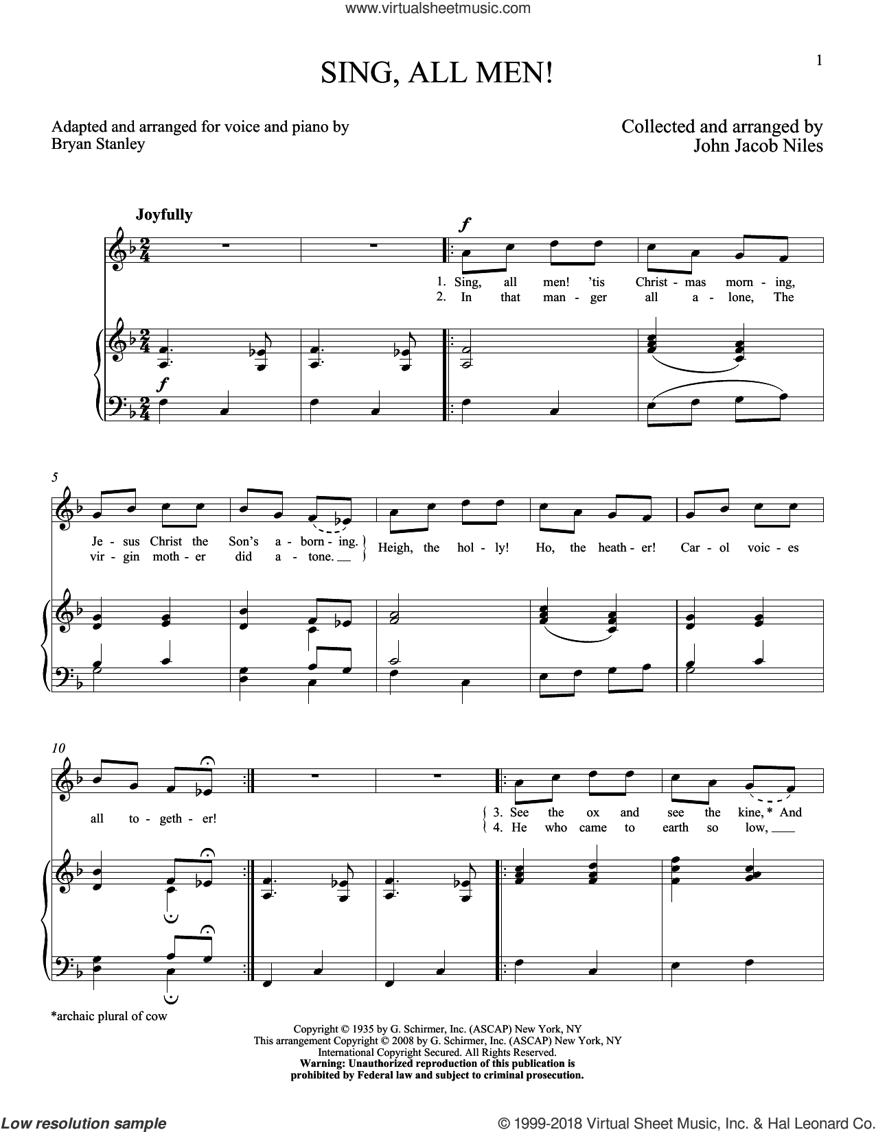 Sing, All Men! sheet music for voice and piano (High Voice) by John Jacob Niles, intermediate skill level