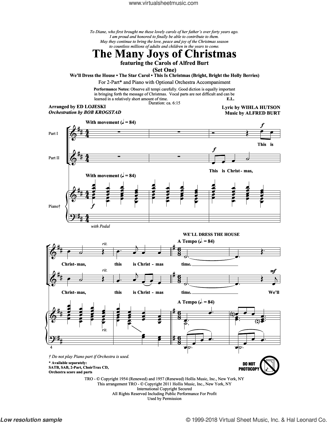 The Many Joys Of Christmas (featuring The Carols of Alfred Burt) Set 1 sheet music for choir (duets) by Ed Lojeski, Alfred Burt, Bob Krogstad and Wihla Hutson. Score Image Preview.