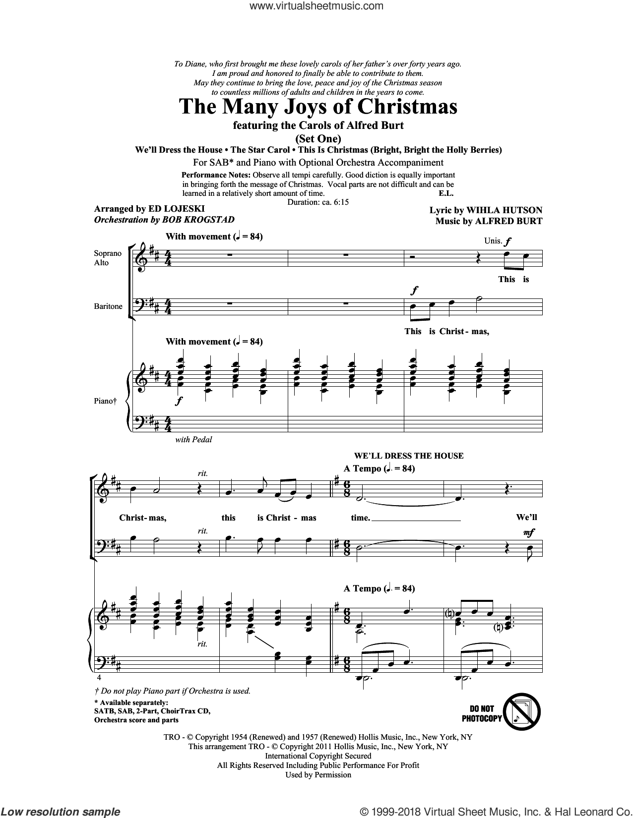 The Many Joys Of Christmas (featuring The Carols of Alfred Burt) Set 1 sheet music for choir (SAB) by Ed Lojeski, Alfred Burt, Bob Krogstad and Wihla Hutson, Christmas carol score, intermediate choir (SAB). Score Image Preview.