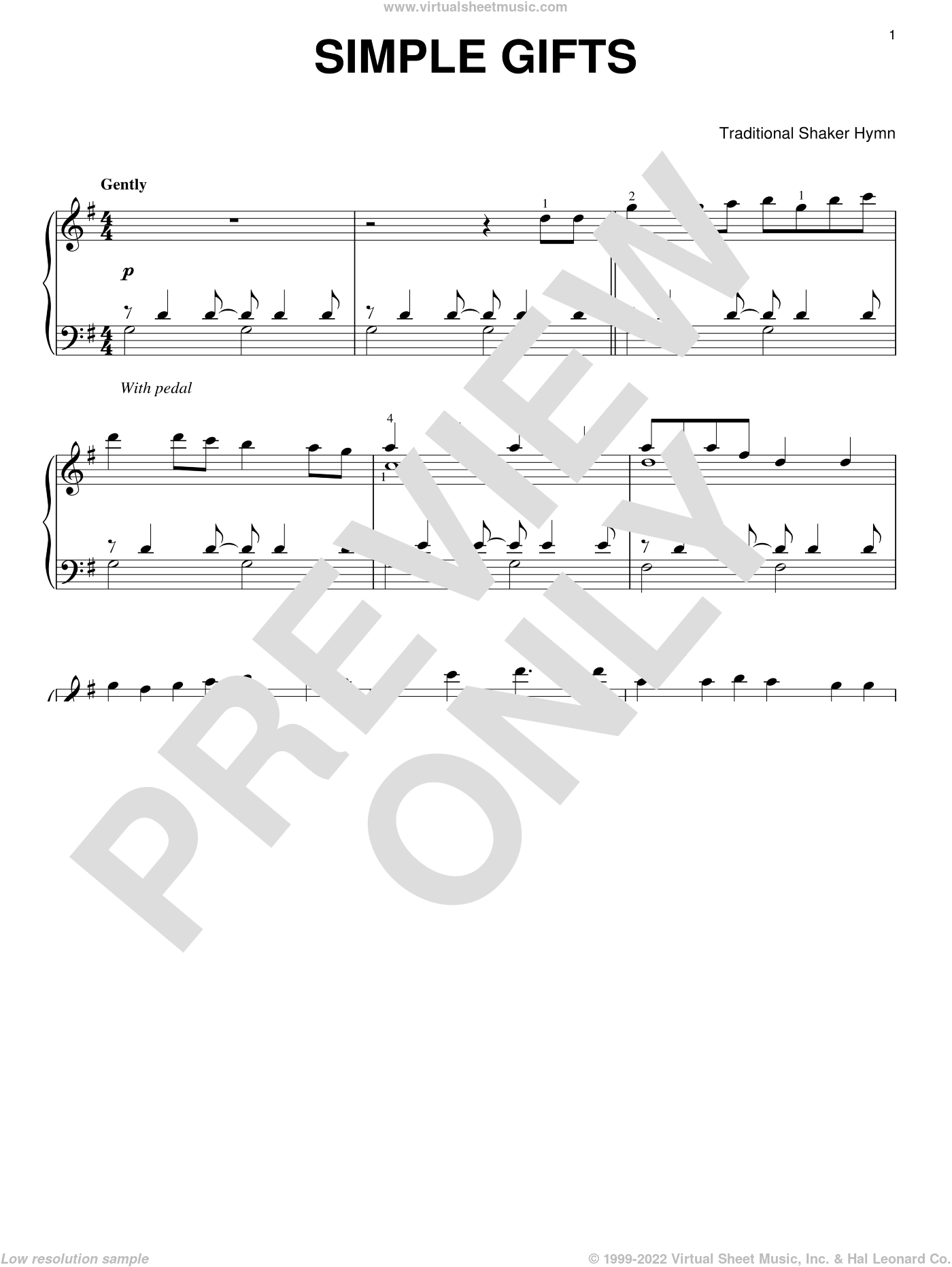 Simple Gifts sheet music for piano solo, classical score, intermediate skill level