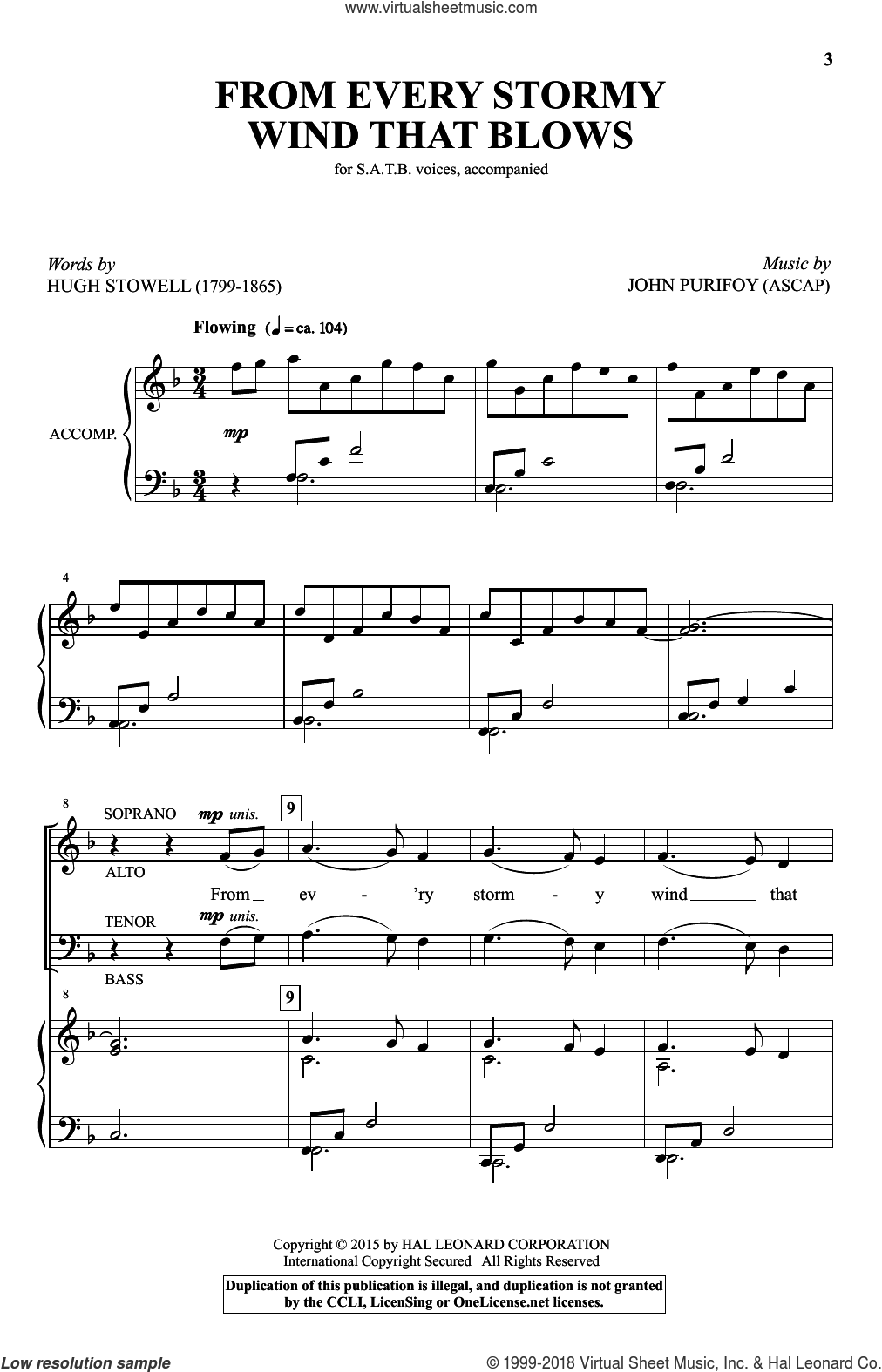 From Every Stormy Wind That Blows sheet music for choir and piano (SATB) by John Purifoy. Score Image Preview.
