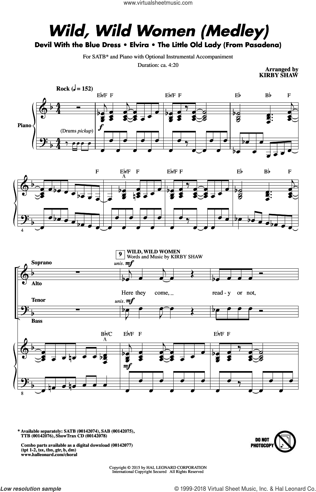 Wild, Wild Women (Medley) sheet music for choir (SATB) by Kirby Shaw, Dallas Frazier, Roger Christian and William Stevenson. Score Image Preview.
