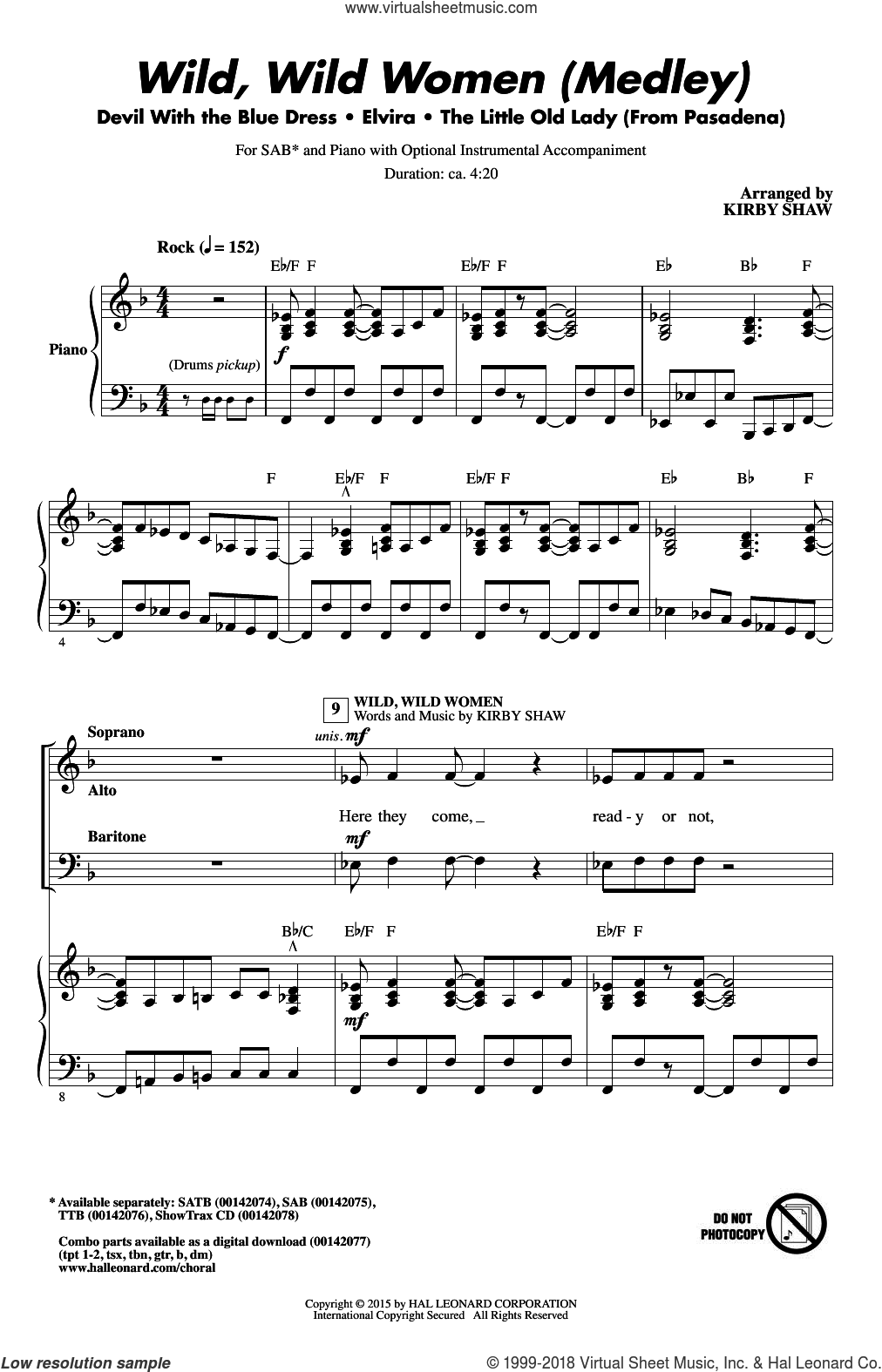 Wild, Wild Women (Medley) sheet music for choir (SAB) by William Stevenson, Kirby Shaw and Mitch Ryder, intermediate choir (SAB). Score Image Preview.