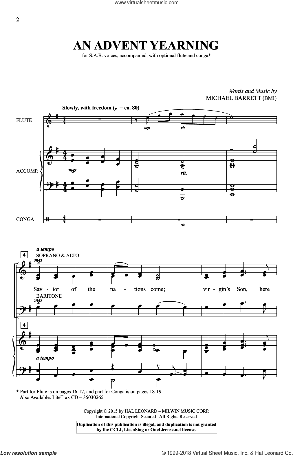 An Advent Yearning sheet music for choir (SAB: soprano, alto, bass) by Michael Barrett, intermediate skill level