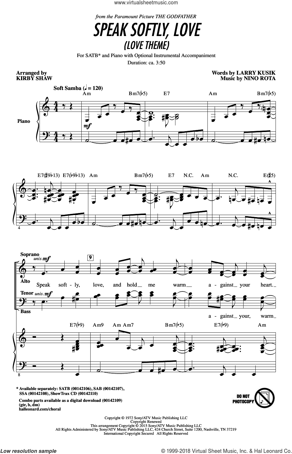 Speak Softly, Love (Love Theme) sheet music for choir and piano (SATB) by Kirby Shaw, Andy Williams, Larry Kusik and Nino Rota. Score Image Preview.