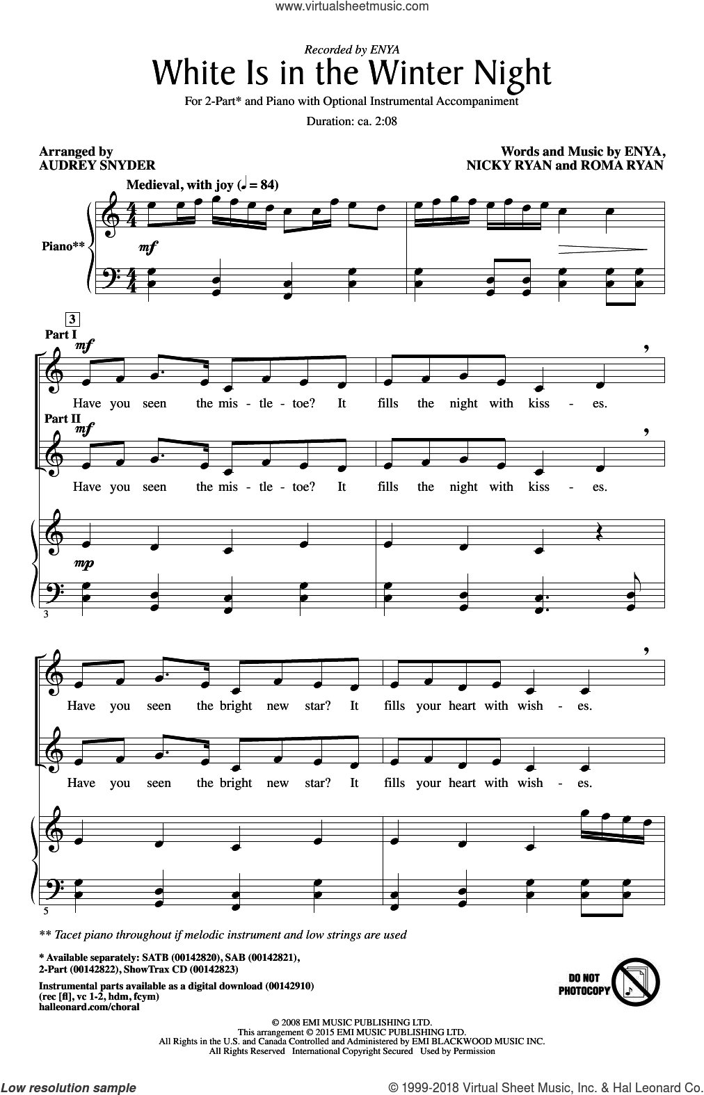 White Is In The Winter Night sheet music for choir (duets) by Audrey Snyder and Enya, Christmas carol score, intermediate duet. Score Image Preview.