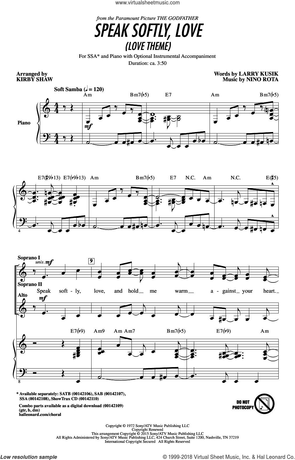 Speak Softly, Love (Love Theme) sheet music for choir (SSA: soprano, alto) by Kirby Shaw, Andy Williams, Larry Kusik and Nino Rota, intermediate skill level