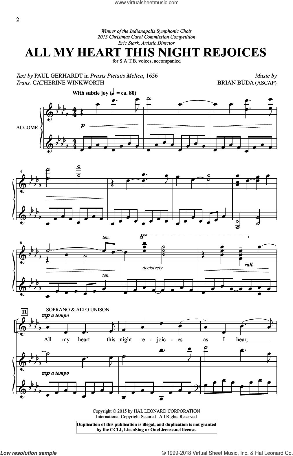 All My Heart This Night Rejoices sheet music for choir and piano (SATB) by Catherine Winkworth (trans.), Brian Buda and Paul Gerhardt. Score Image Preview.