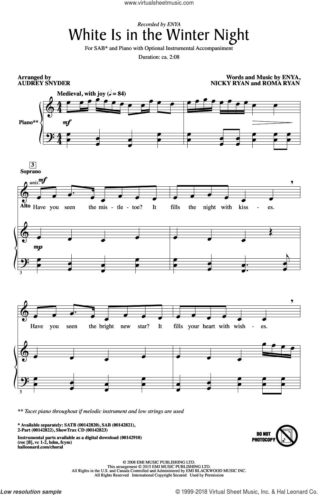 White Is In The Winter Night sheet music for choir (SAB) by Audrey Snyder, Enya, Nicky Ryan and Roma Ryan. Score Image Preview.