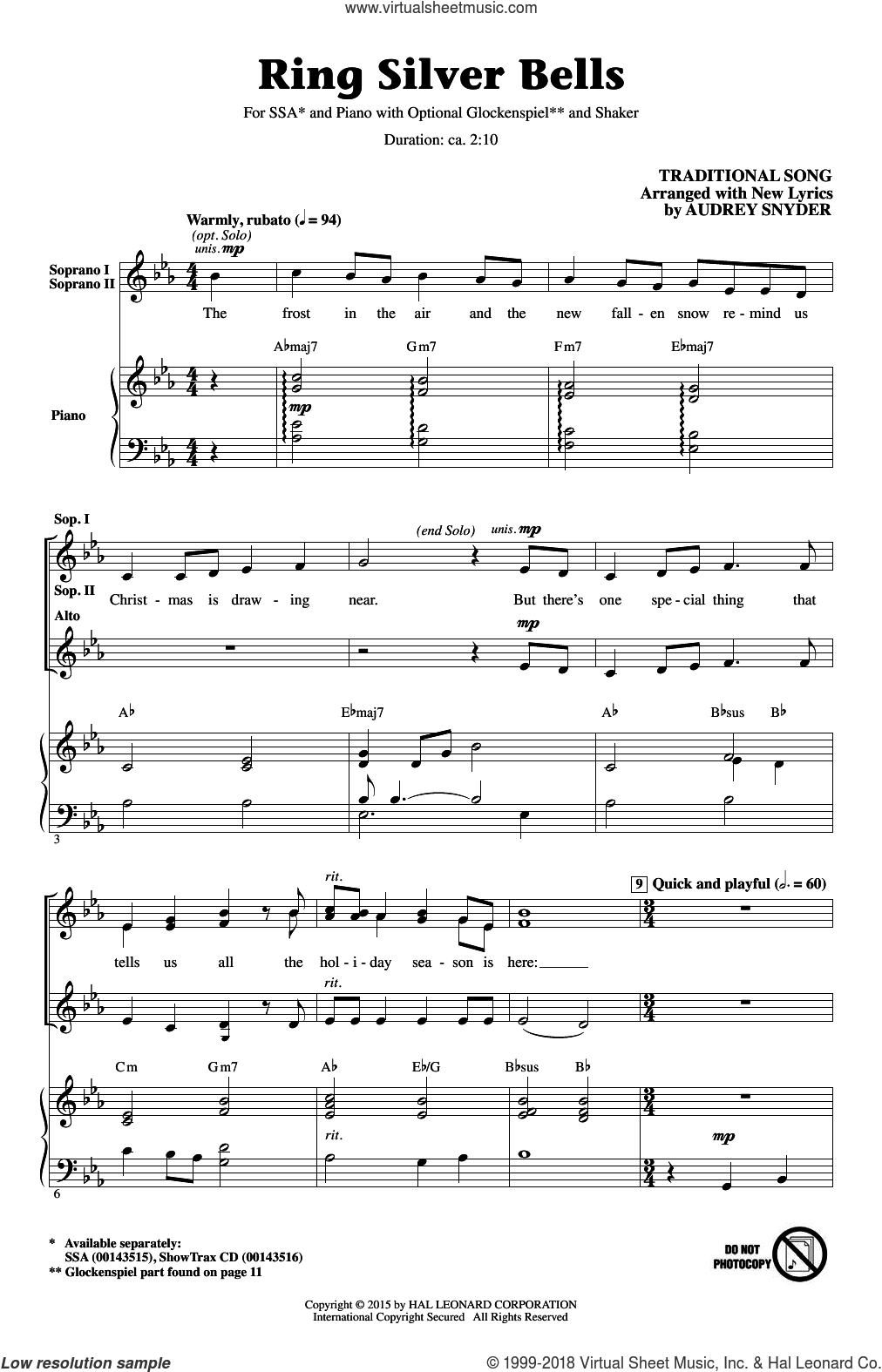 Ring Silver Bells sheet music for choir (SSA: soprano, alto) by Audrey Snyder, intermediate. Score Image Preview.
