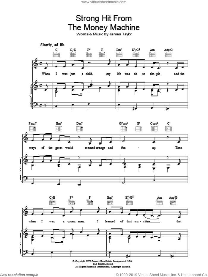 Strong Hit From The Money Machine sheet music for voice, piano or guitar by James Taylor, intermediate skill level