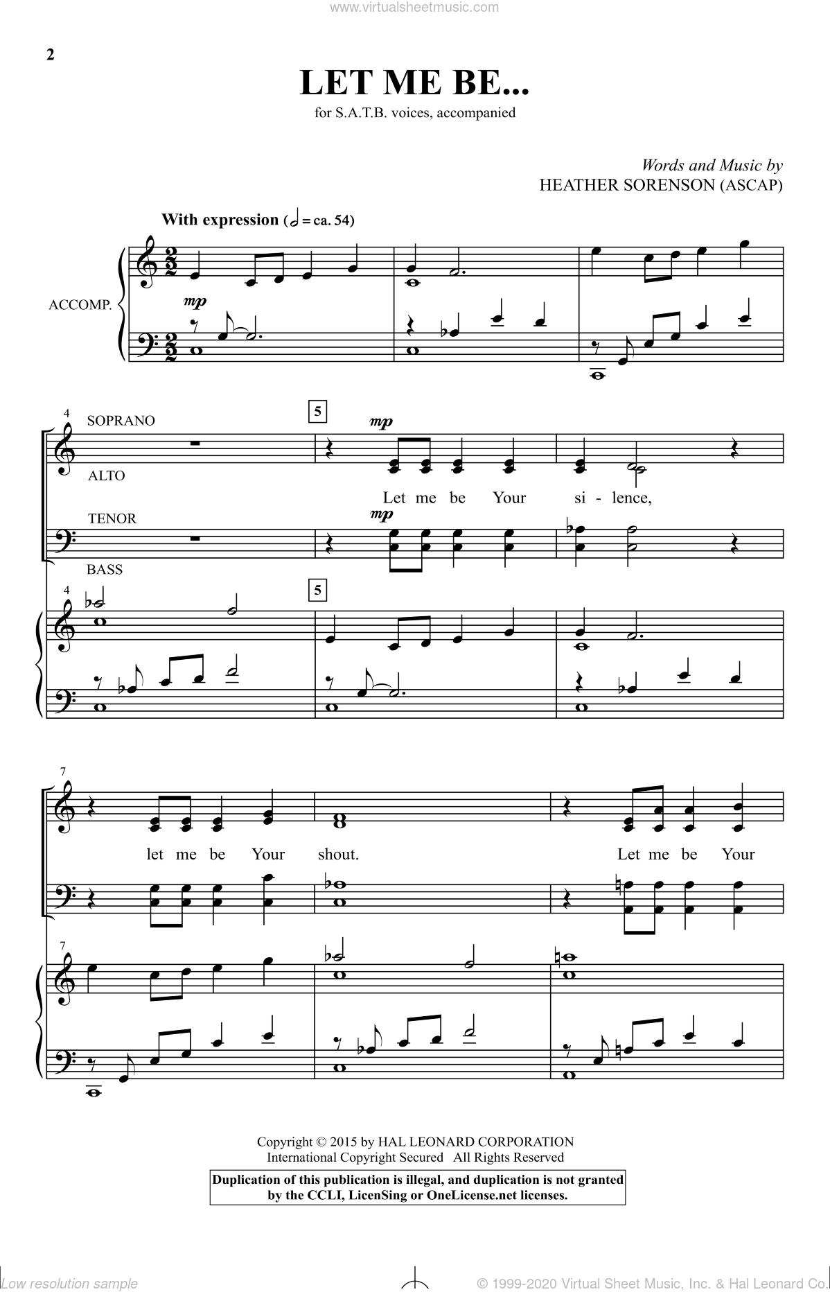 Let Me Be... sheet music for choir (SATB: soprano, alto, tenor, bass) by Heather Sorenson, intermediate. Score Image Preview.