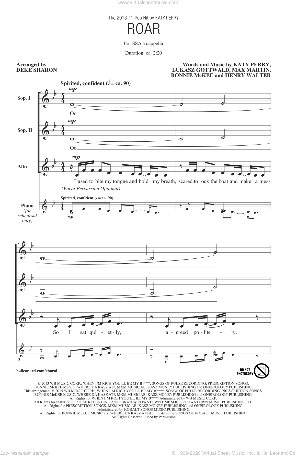 Martin - Roar sheet music for choir (SSA: soprano, alto) [PDF]