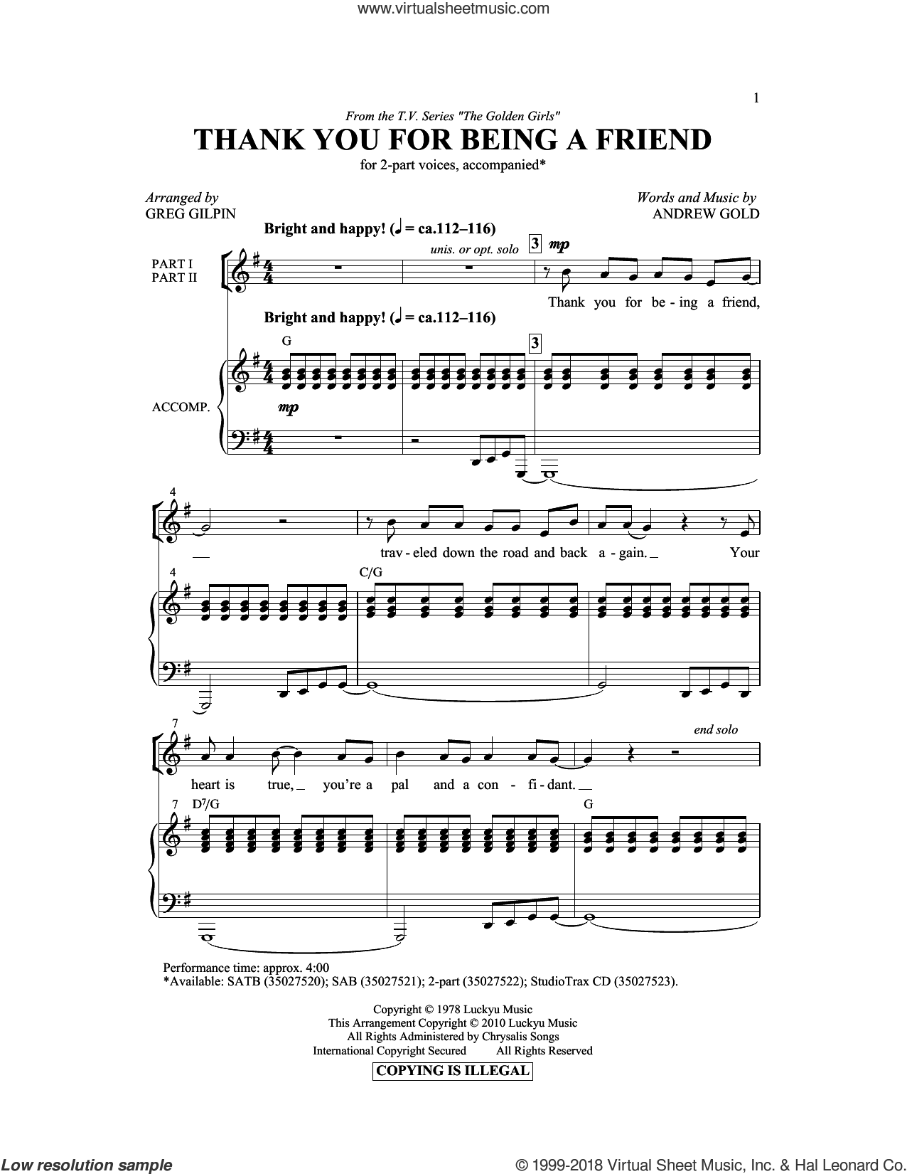 Thank You For Being A Friend sheet music for choir and piano (duets) by Andrew Gold and Greg Gilpin. Score Image Preview.
