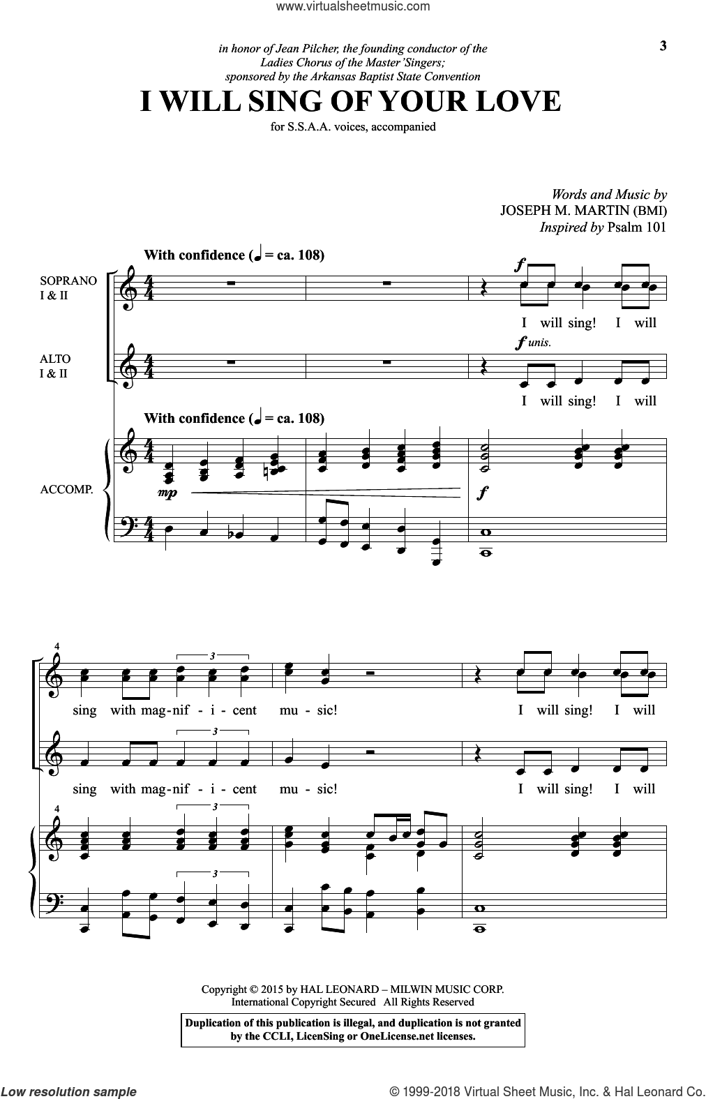 I Will Sing Of Your Love sheet music for choir (SSA: soprano, alto) by Joseph M. Martin, intermediate. Score Image Preview.