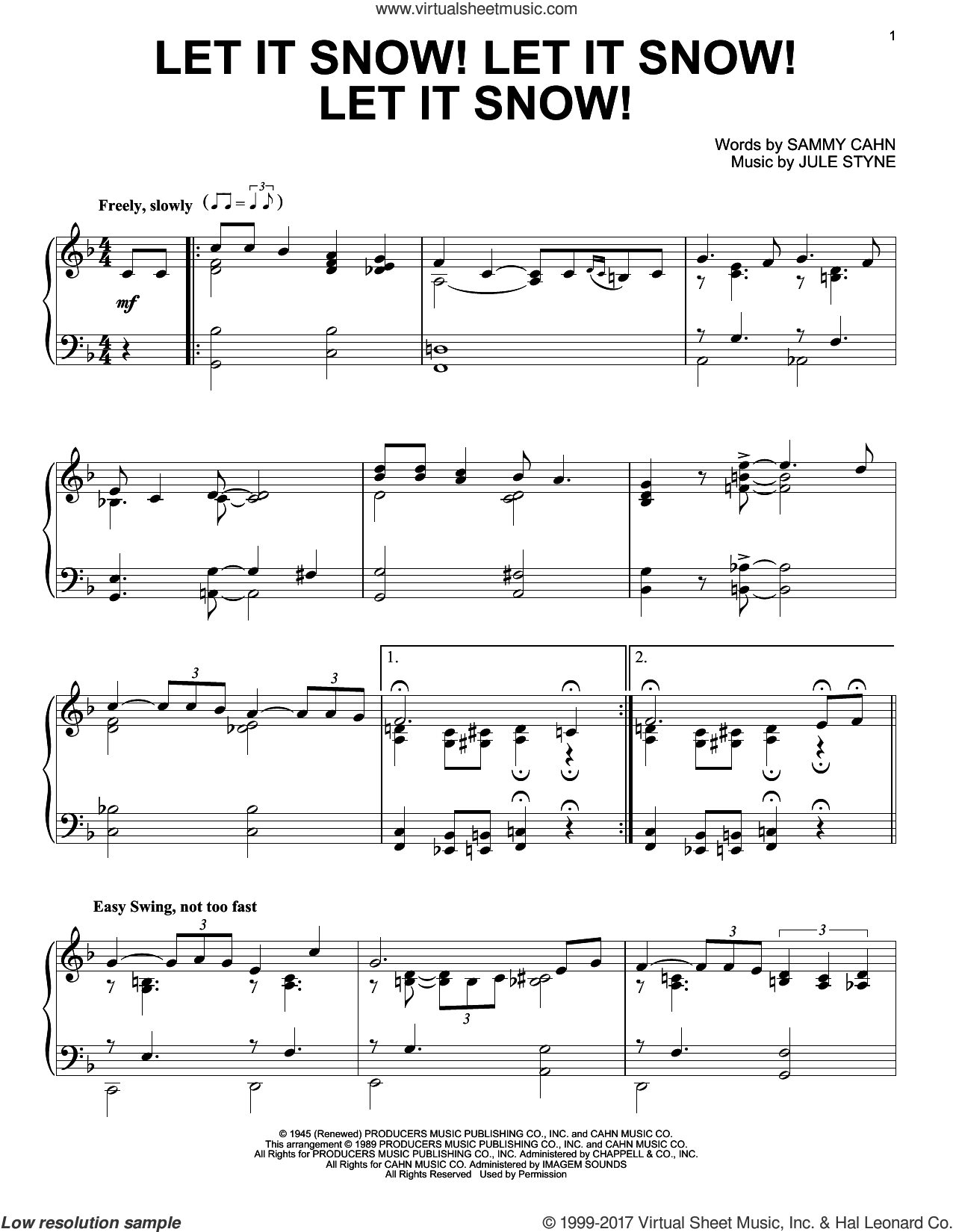Let It Snow! Let It Snow! Let It Snow!, (intermediate) sheet music for piano solo by Sammy Cahn and Jule Styne, intermediate skill level