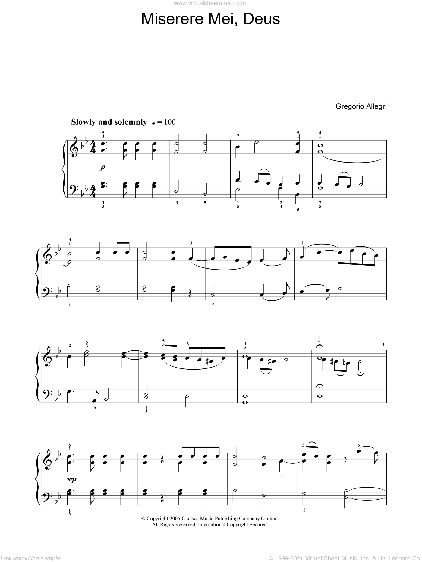 Miserere sheet music for voice, piano or guitar by Gregorio Allegri and Martin Neary, classical score, intermediate skill level