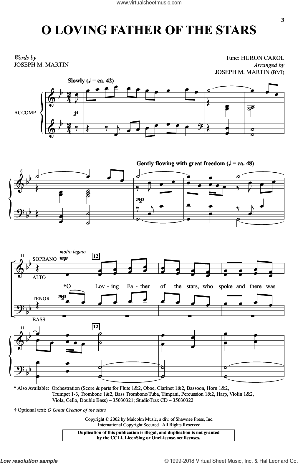 O Loving Father Of The Stars sheet music for choir (SATB) by Joseph M. Martin, intermediate. Score Image Preview.