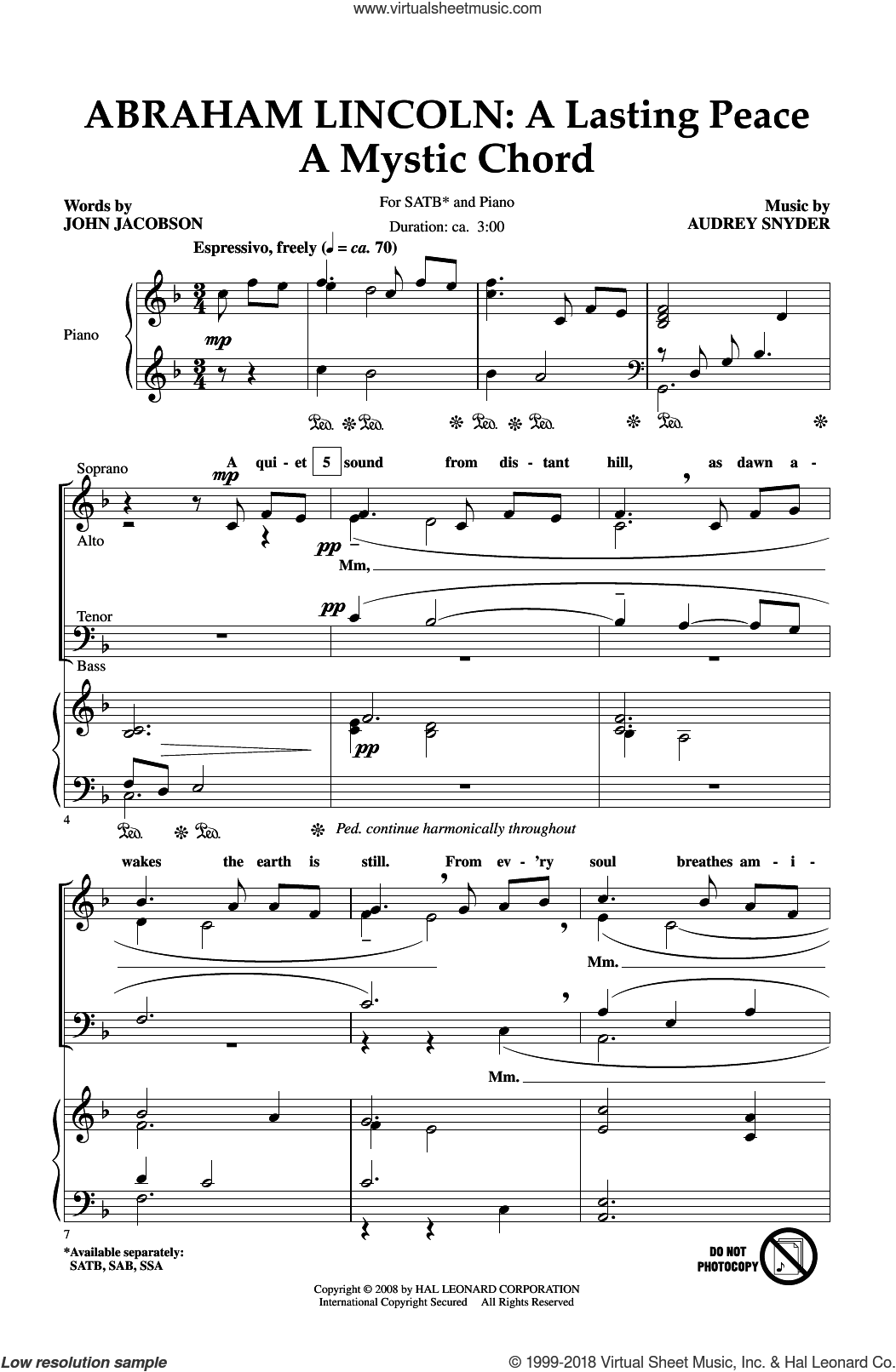 Abraham Lincoln: A Lasting Peace sheet music for choir (SATB: soprano, alto, tenor, bass) by Audrey Snyder and John Jacobson, intermediate skill level