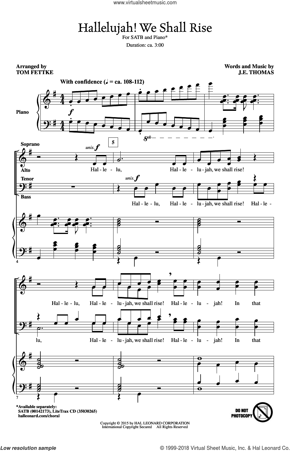 Hallelujah! We Shall Rise sheet music for choir and piano (SATB) by J.E. Thomas and Tom Fettke. Score Image Preview.