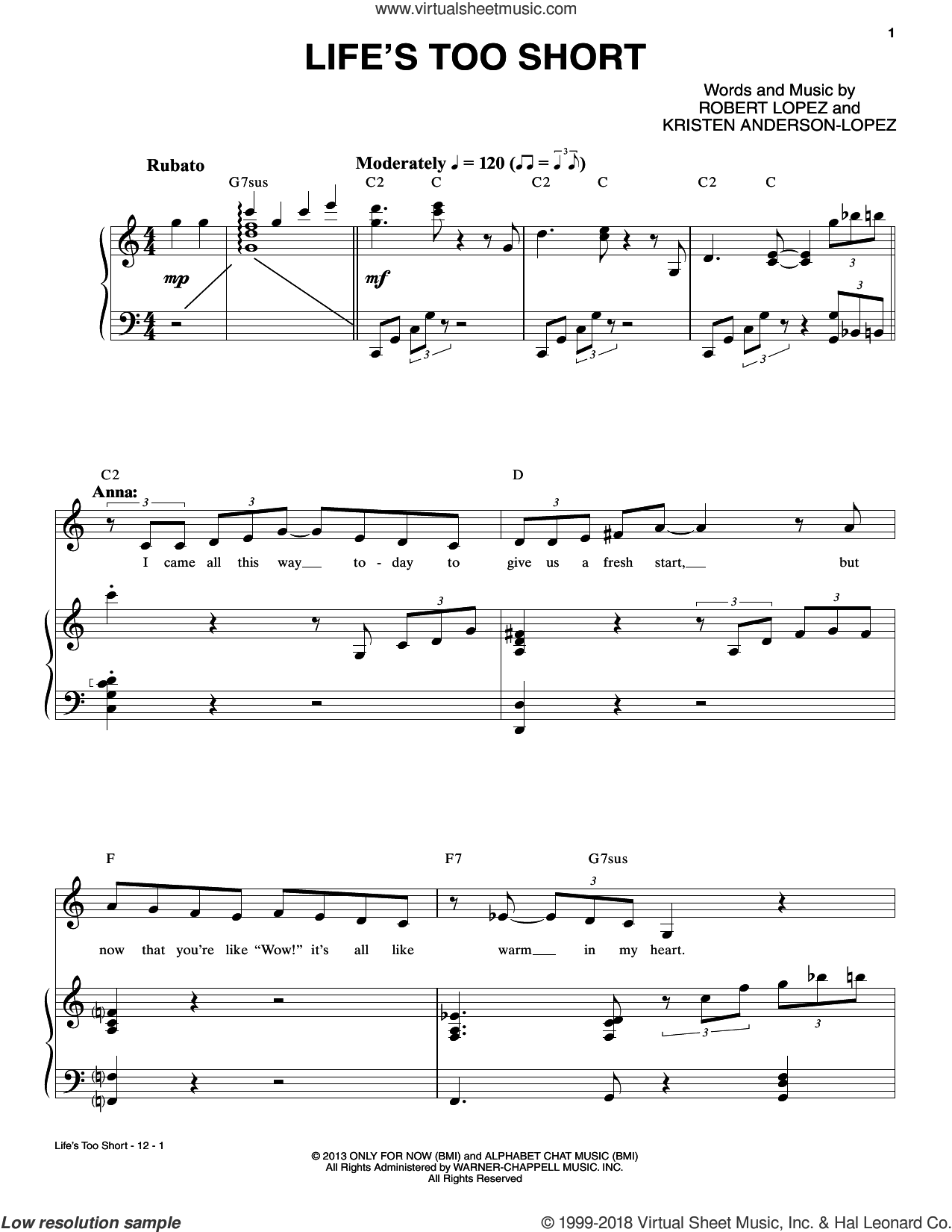 Life's Too Short sheet music for voice and piano by Robert & Kristen Anderson-Lopez, Kristen Anderson-Lopez and Robert Lopez, intermediate skill level