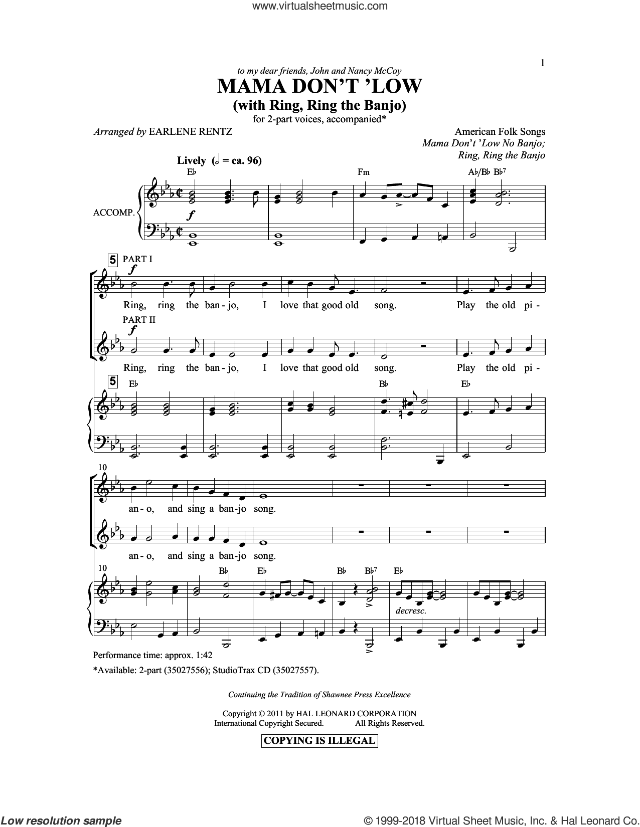 Mama Don't 'Low (with Ring, Ring The Banjo) sheet music for choir (duets) by Earlene Rentz, intermediate. Score Image Preview.