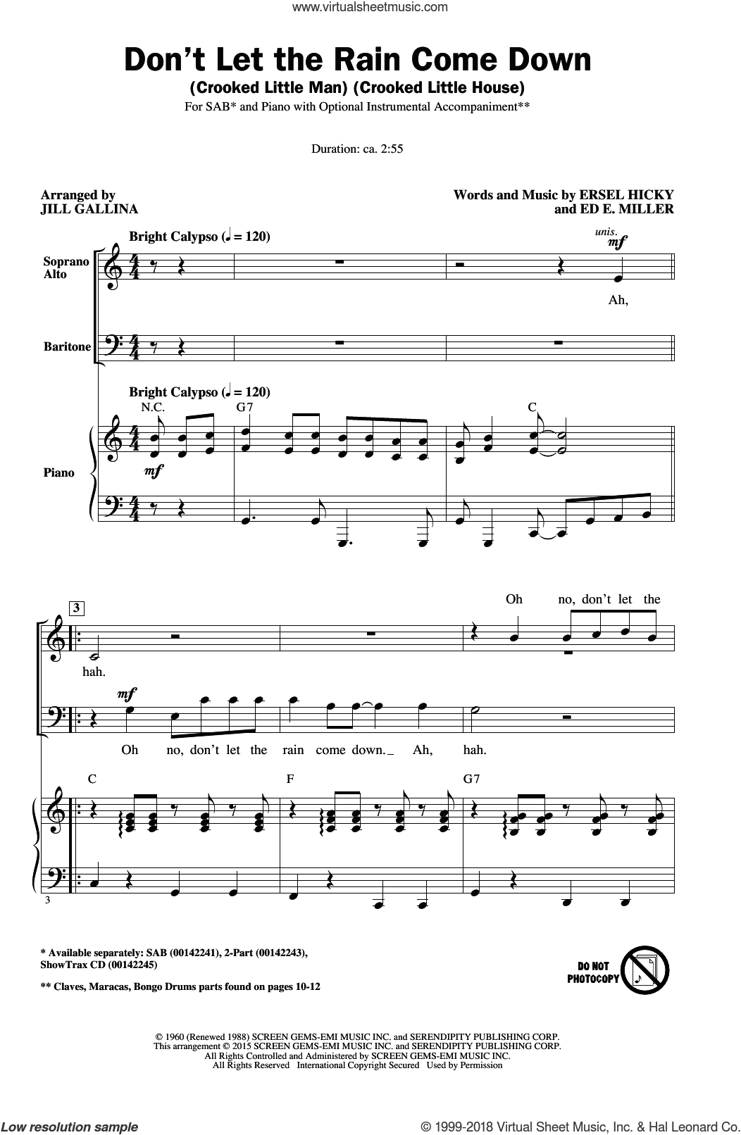 Don't Let The Rain Come Down (Crooked Little Man) (Crooked Little House) sheet music for choir and piano (SAB) by Ersel Hicky and Jill Gallina. Score Image Preview.