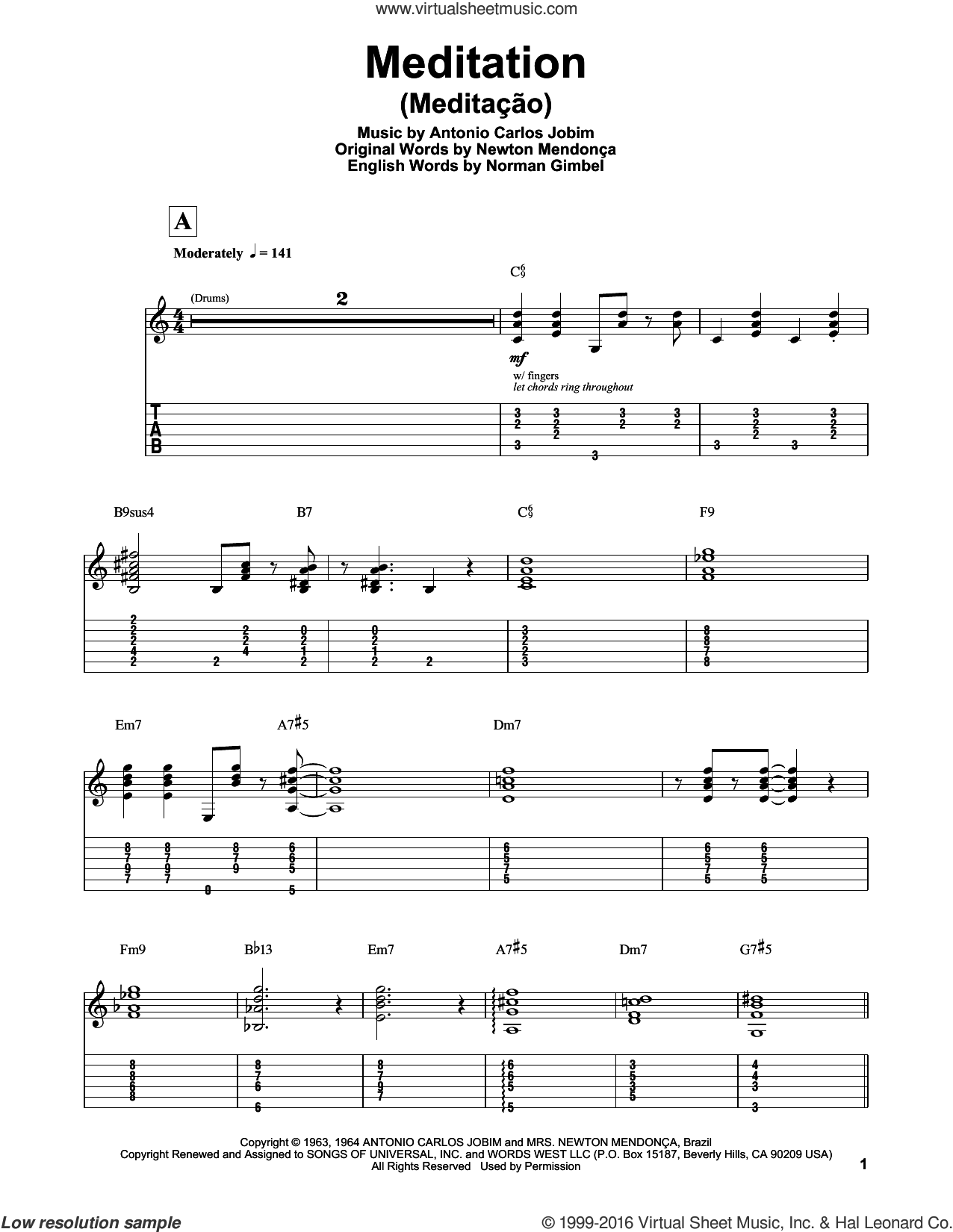 Meditation (Meditacao) sheet music for guitar (tablature, play-along) by Antonio Carlos Jobim, Charlie Byrd w/The Walter Raim Strings, Newton MendonA�A�a, Newton Mendonca and Norman Gimbel, intermediate skill level