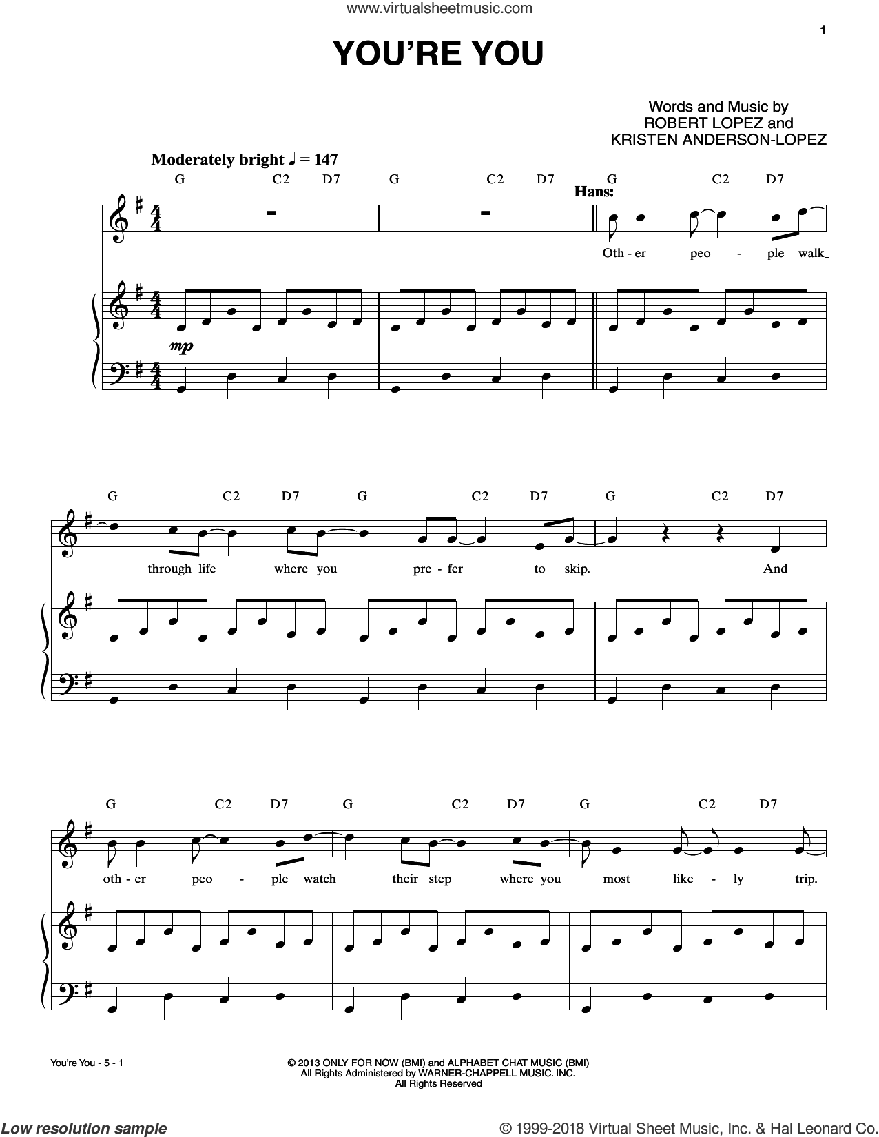 You're You sheet music for voice and piano by Robert & Kristen Anderson-Lopez, Kristen Anderson-Lopez and Robert Lopez, intermediate skill level