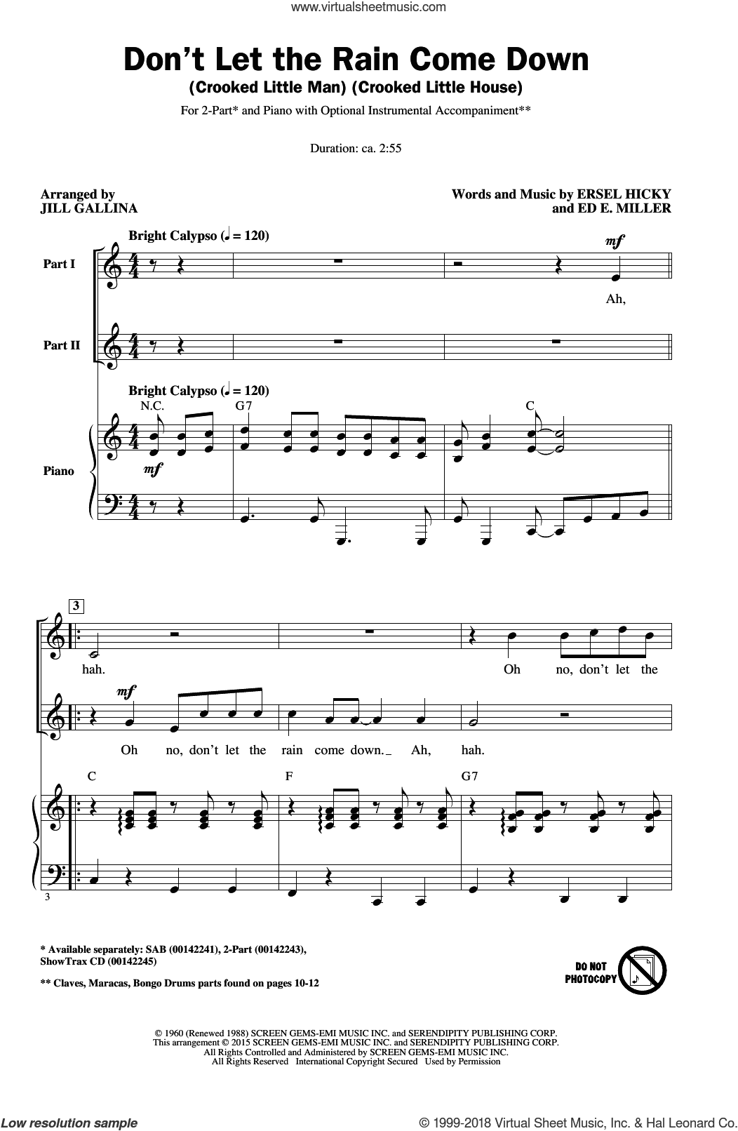 Don't Let The Rain Come Down (Crooked Little Man) (Crooked Little House) sheet music for choir (2-Part) by Jill Gallina, Ed. E. Miller, Ersel Hicky and Serendipity Singers, intermediate duet. Score Image Preview.