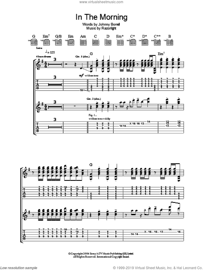 In The Morning sheet music for guitar (tablature) by Razorlight. Score Image Preview.