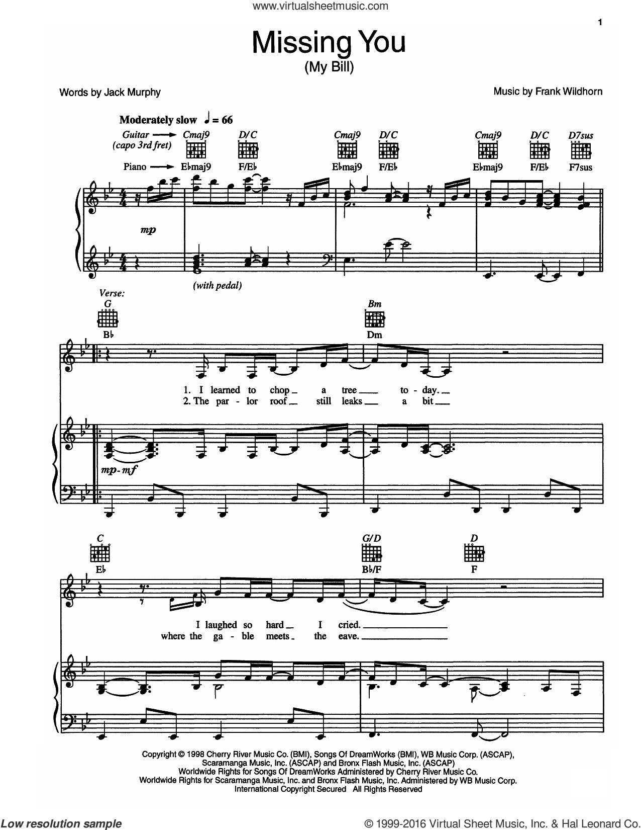 Missing You (My Bill) sheet music for voice, piano or guitar by Frank Wildhorn and Jack Murphy, intermediate voice, piano or guitar. Score Image Preview.
