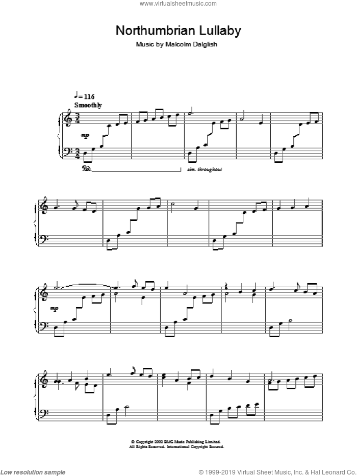 Northumbrian Lullabye sheet music for piano solo by Malcolm Dalglish, intermediate. Score Image Preview.