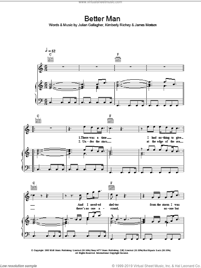 Better Man sheet music for voice, piano or guitar by James Morrison. Score Image Preview.