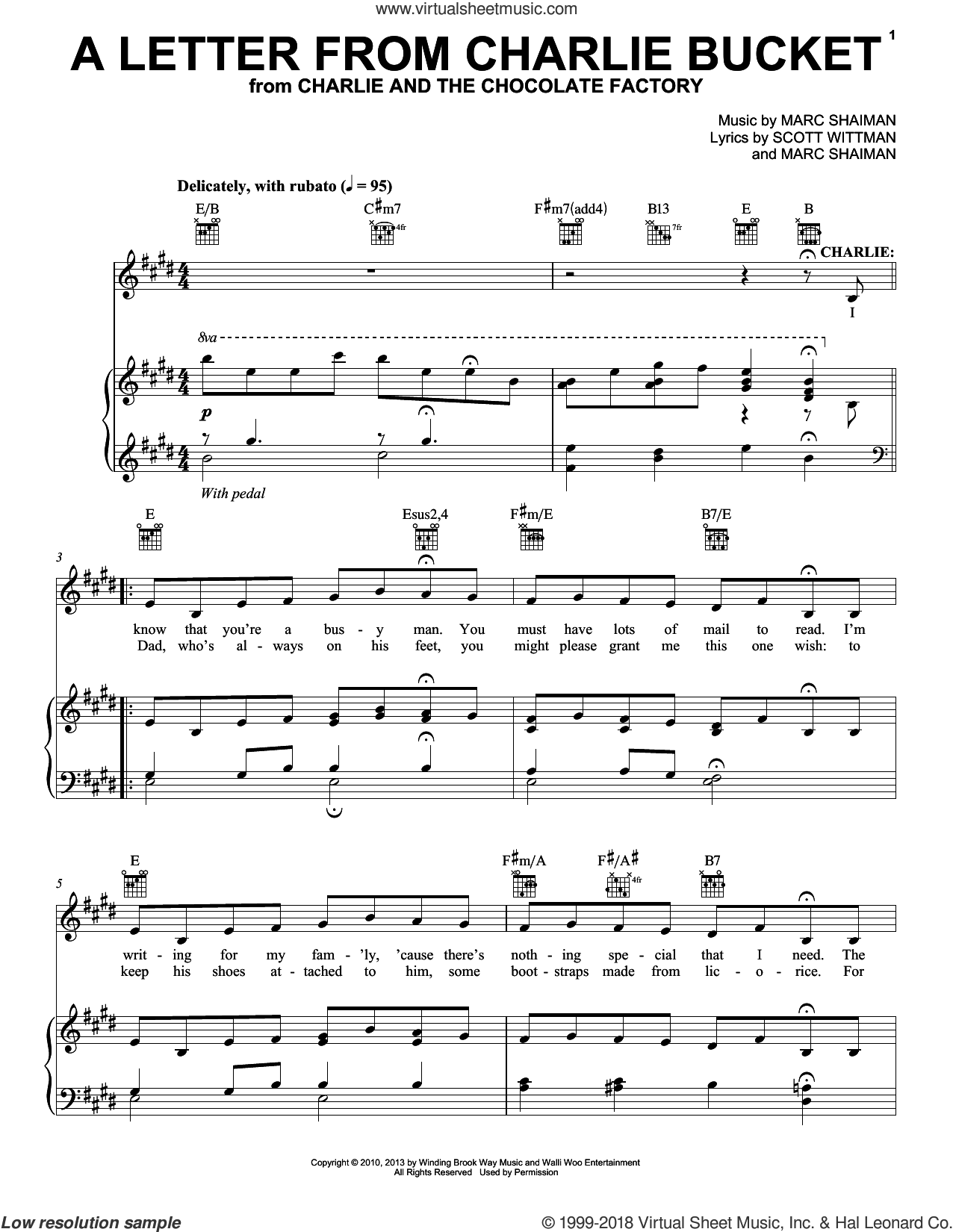A Letter From Charlie Bucket sheet music for voice, piano or guitar by Marc Shaiman & Scott Wittman, Marc Shaiman and Scott Wittman, intermediate skill level