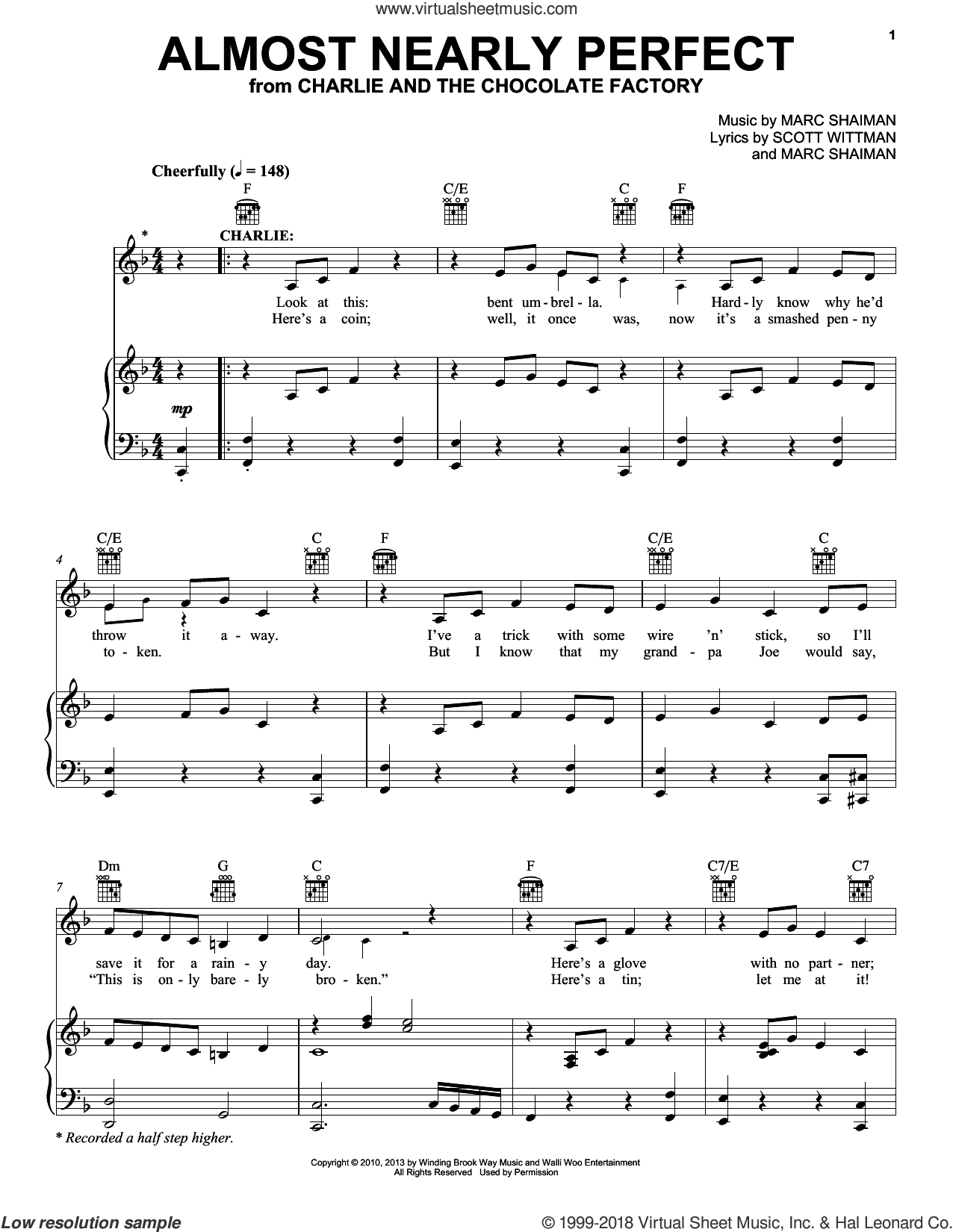 Almost Nearly Perfect sheet music for voice, piano or guitar by Marc Shaiman & Scott Wittman, Marc Shaiman and Scott Wittman, intermediate skill level