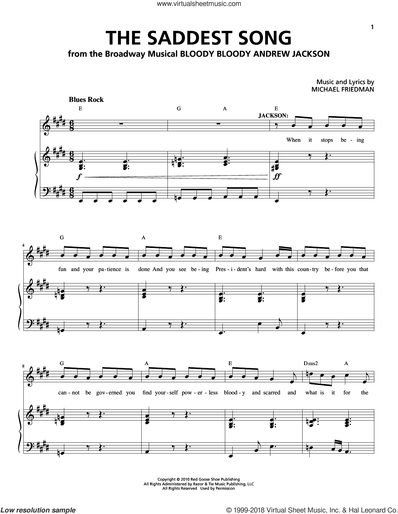 The Saddest Song sheet music for voice and piano by Michael Friedman. Score Image Preview.