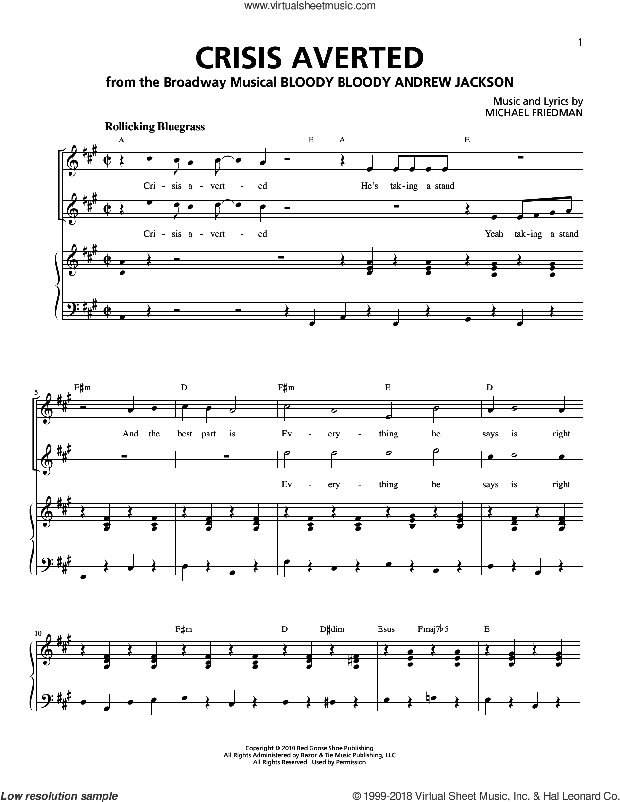 Crisis Averted sheet music for voice and piano by Michael Friedman. Score Image Preview.