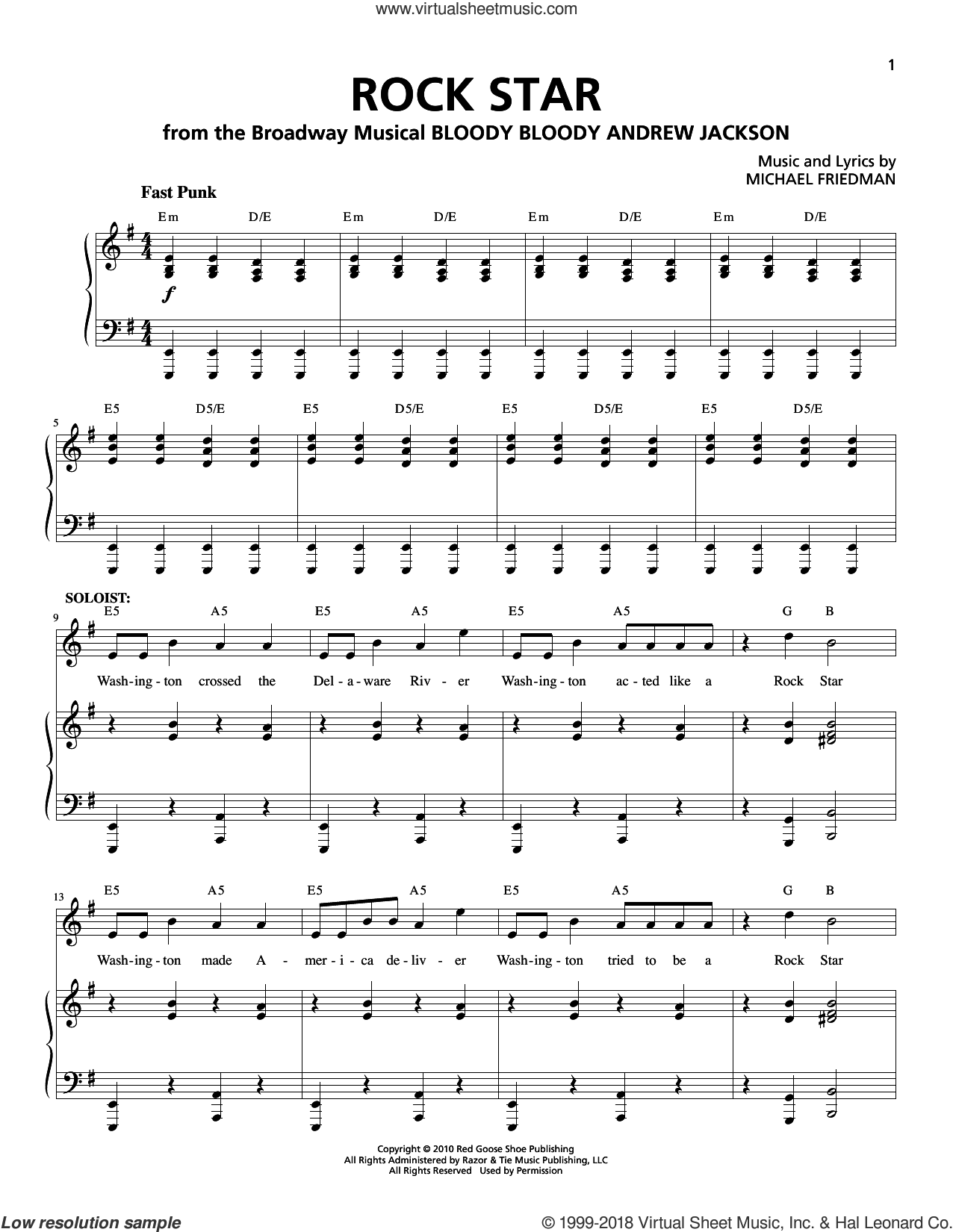 Rock Star sheet music for voice and piano by Michael Friedman. Score Image Preview.