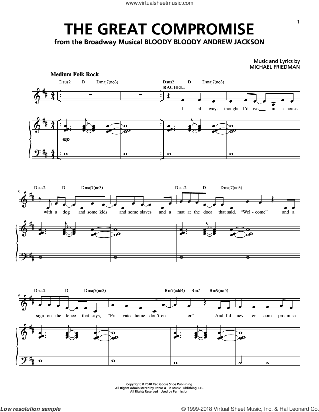The Great Compromise sheet music for voice and piano by Michael Friedman. Score Image Preview.